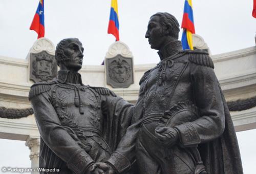 南美兩位獨立運動領袖玻利瓦和聖馬丁
