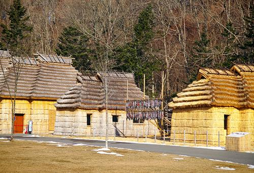 穿梭於愛奴族傳統建築間