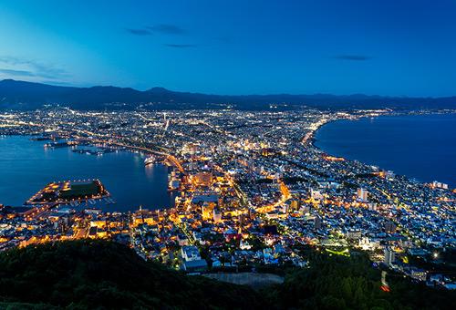 眺望函館山百萬夜景