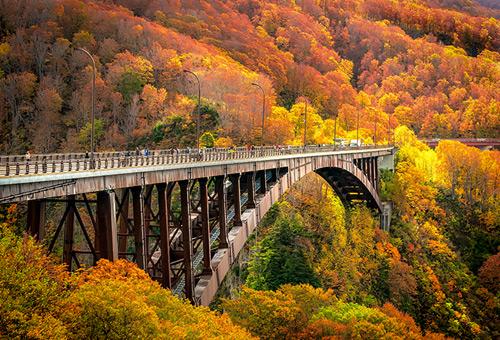 從世界上最長的城倉大橋上俯瞰溪谷